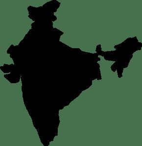 Carte de l'Inde noir et blanc
