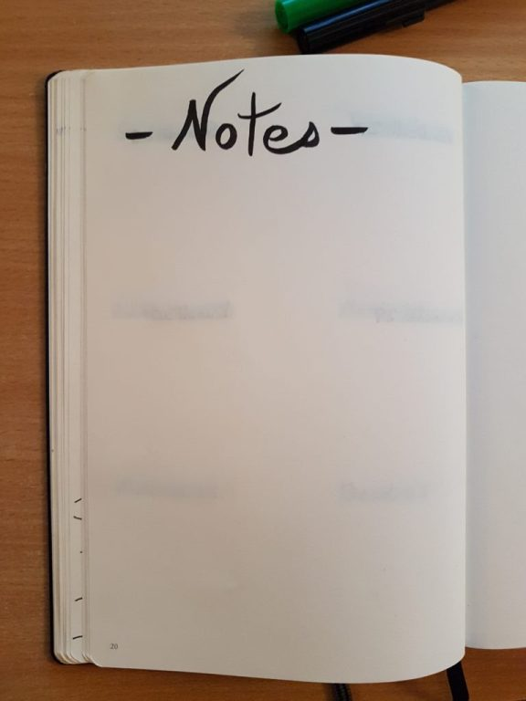 Page de notes bullet journal