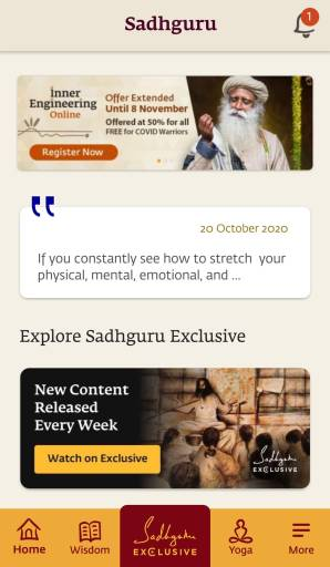l'application de Sadhguru