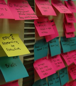 Colorful Post Its on Wall
