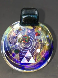 Jolex glass tri-force pendant