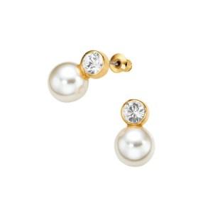 Boucles d'oreilles Perle claire & zircone 143P magnétique