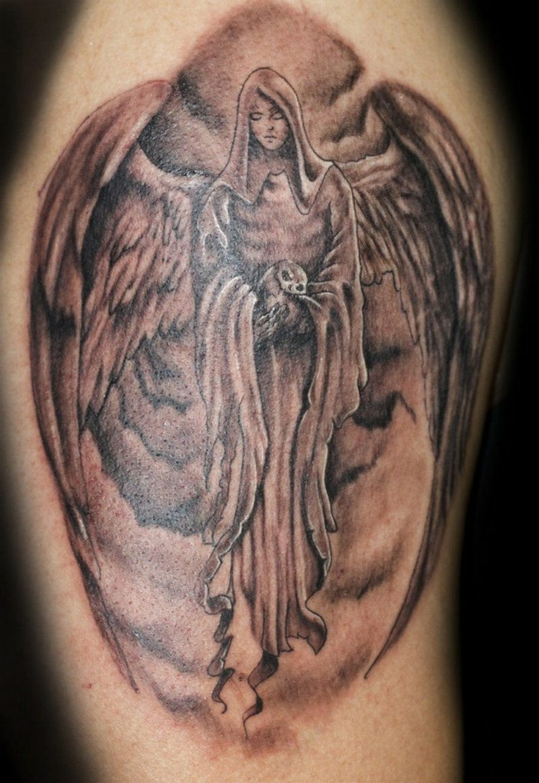 Cross Angel Wings Chest Tattoos Men