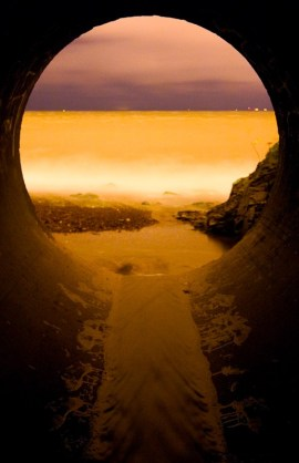 Where Brewery Creek meets Lake Superior, under the Lakewalk. (Image: substreet.org)