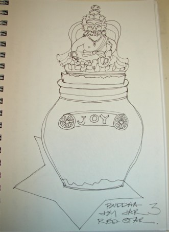 Buddha sits on the Joy Jar.