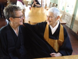 Susan Rice and Blanche visiting after my Jukai ceremony.