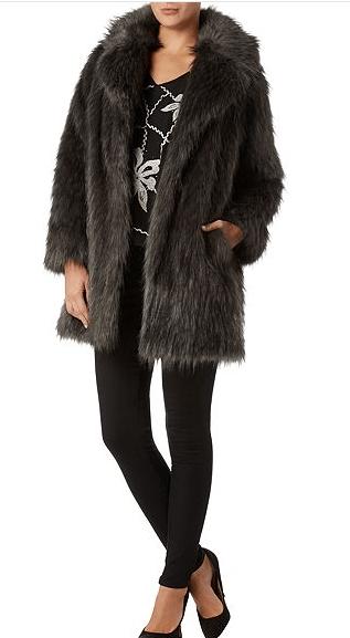 Biba Speckle Faux Fur Portobello Coat: SALE £139.30 @ House of Fraser