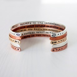 Customize your own secret message skinny stacking bracelet in copper, brass or sterling silver
