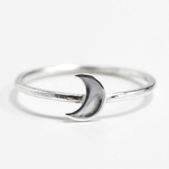 Crescent moon Sterling silver stacking ring