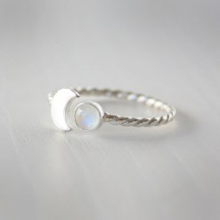 Crescent moon and rainbow moonstone sterling silver twist band ring