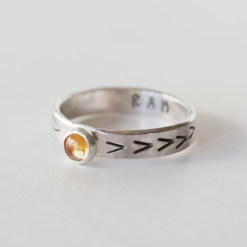 Solar plexus chakra stacking ring in sterling silver with citrine stone