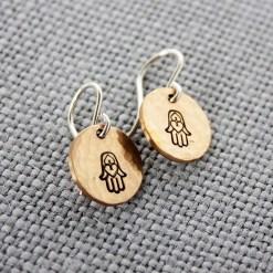 Hamsa Hand dangle earrings in brass, copper or sterling silver