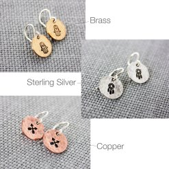 Brass, sterling silver and copper earrings