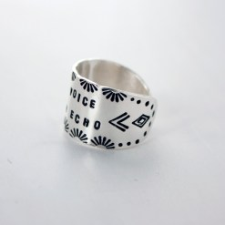 Be a voice not an echo Sterling silver wide-band cigar-style cuff ring