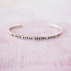 You will never regret being kind Sterling silver skinny cuff bracelet