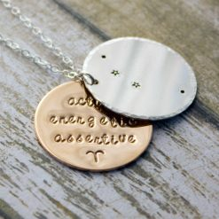 Aries Zodiac Constellation Necklace with Traits in Sterling Silver and Gold