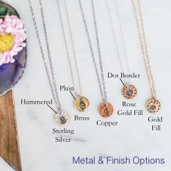 Custom charm necklace metal and finish options