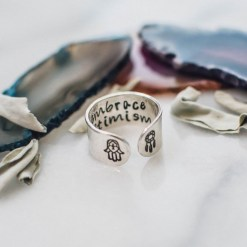 Embrace optimism Inspirational sterling silver ring