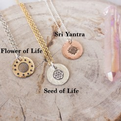 Sacred geometry symbol options for necklaces