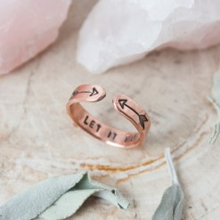 Let it go copper skinny stacking ring