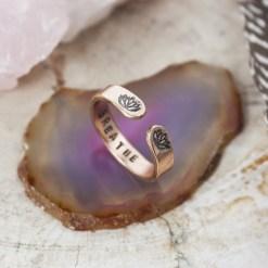 Breathe rose gold skinny stacking ring