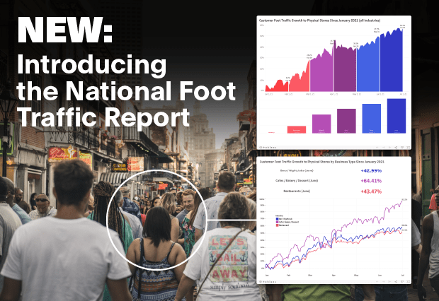 Hero image of customers walking past stores, with screenshots of the charts included in the National Foot Traffic Report.