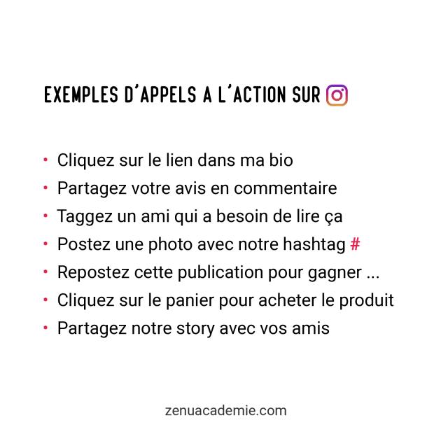 Exemples d'appels à l'action sur Instagram
