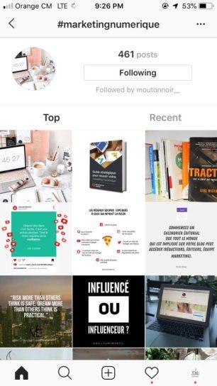Exemple de recherche par hashtag sur Instagram