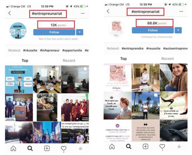 Comparatif de deux recherches de hashtags sur Instagram Entrepreneuriat et Entrepreneriat