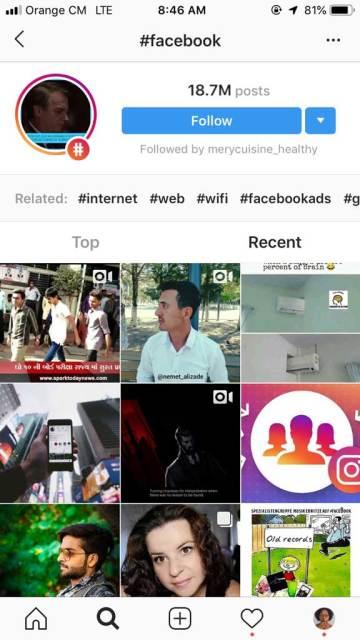 Résultats de la recherche du hashtag Facebook sur Instagram