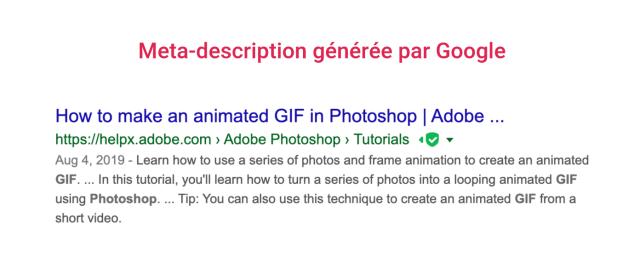 Exemple de meta description que Google propose sur les résultats de recherche