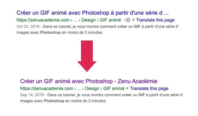Changement de la longueur du titre d'un article de blog sur Google