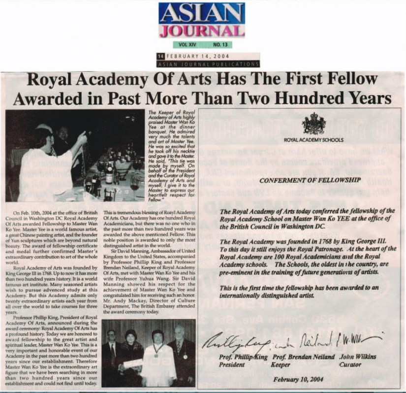Royal Academy Of Arts Has The First Fellow Awarded in Past More Then Two Hundred Years (February 14, 2004 ASIAN JOURNAL)