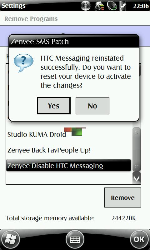 Uninstallation will undo the hack automatically