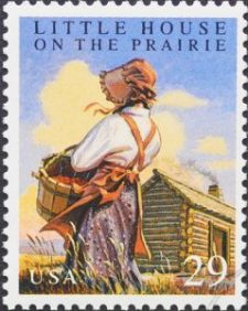 "Little House on the Prairie stamp with caption: ""Junk mail? Not in the 1800's!"""