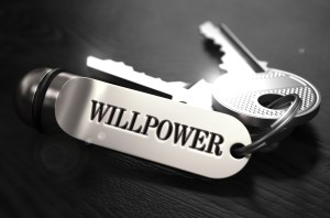 Willpower printed on silver metal key tag