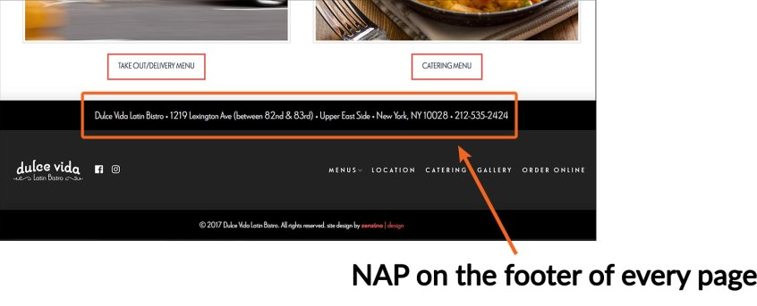 Local SEO-NAP of the footer