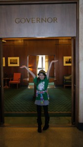 Visiting the Governor's office during a child care rally at the capital in Salem Oregon.