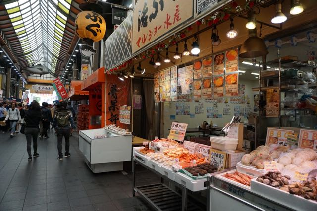 One of the stalls in Kuromon Ichiba Market