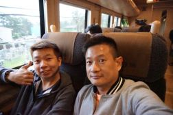 Taking a wefie on the special train