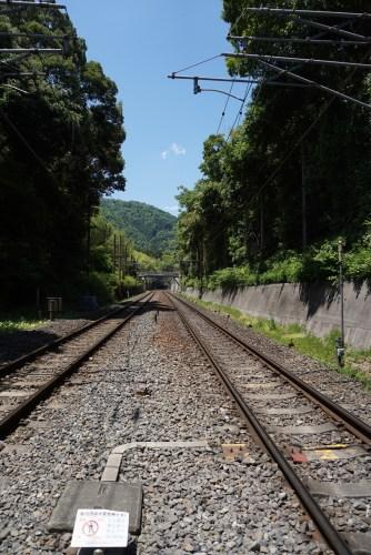 The train tracks that cuts Arashiyama Bamboo Grove into 2 parts