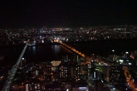 Night view of Osaka from the enclosed deck in Umeda Sky Building