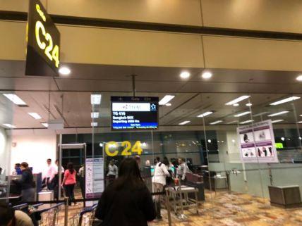 Thai Airways departs from Gate C24 in Singapore Changi Airport Terminal 1