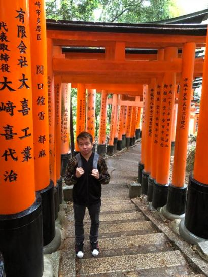 My friend with the torii gates on Mt Inari