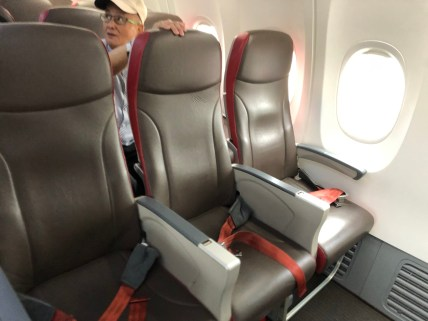 Seats onboard Malindo Air B737-800 are arranged in 3-3 configuration