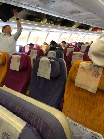 Economy Class cabin is decked out in vibrant colours