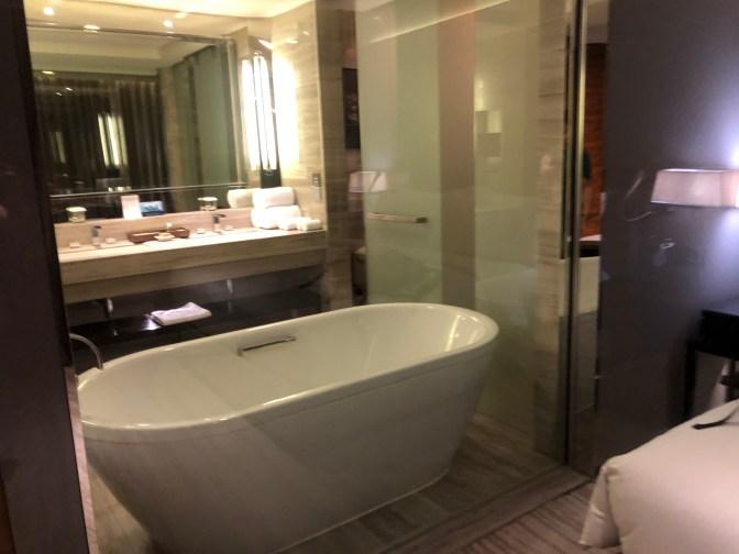 A large bathtub in the bathroom