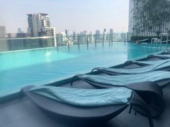 Infinity pool on the roof top of Hilton Sukhumvit Bangkok