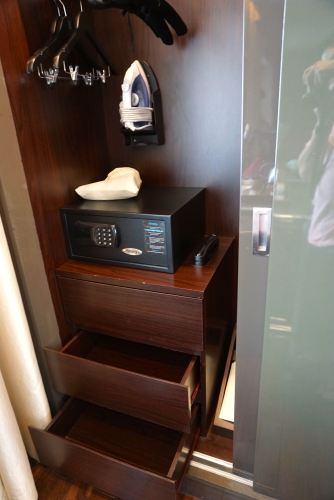 In-room safe and a three-tiered drawer inside the wardrobe