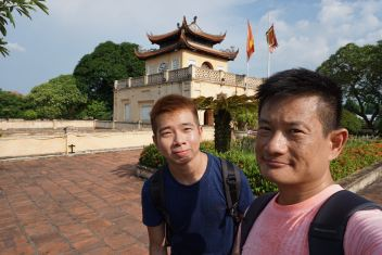 Wefie with the pavilion on top of the wall